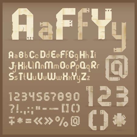 punctuation: Vintage old paper origami alphabet.