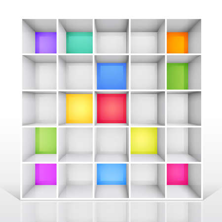 3d isolated Empty colorful bookshelf. Stock Vector - 9566439