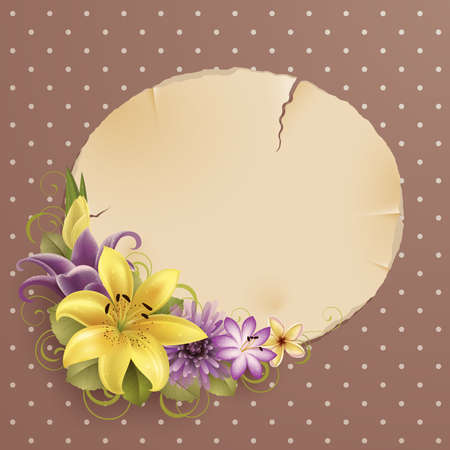 vintage greeting card with flowers and place for text Stock Vector - 9566441