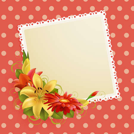 greeting card with flowers and place for text Vector