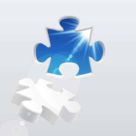 organization design: 3d puzzle with sky and sunlight. Vector illustration. Illustration