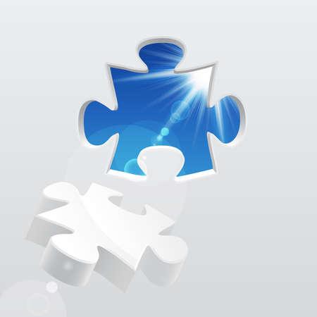 puzzle piece: rompecabezas con cielo y luz solar. Ilustraci�n vectorial. Vectores