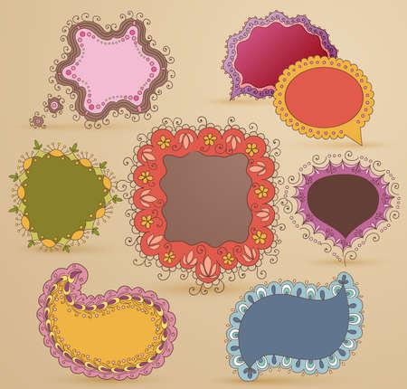 burbujas de pensamiento: Colecci�n de burbujas de expresi�n y pensamiento dibujado a mano infantil Vectores