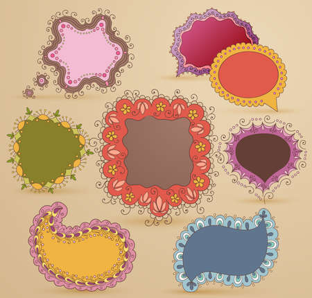 Collection of childish hand drawn speech and thought bubbles Vector