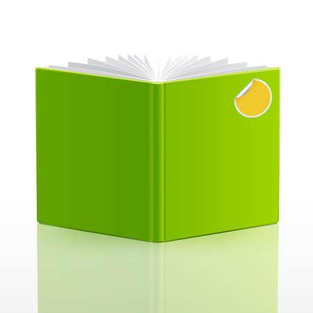 buchhandlung: �ffnen Sie Adressbuch mit gr�nen Einband und Aufkleber. Vektor-Illustration.