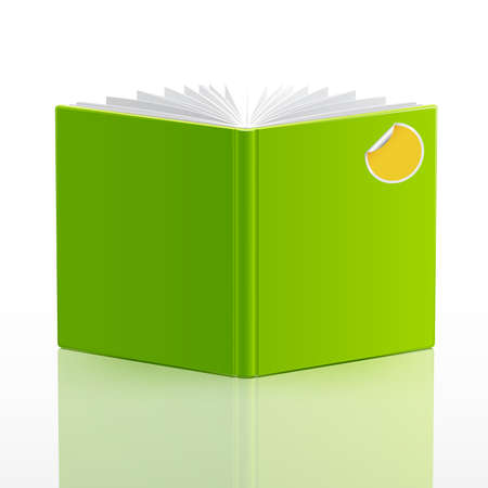 cover pages: open book with green cover and sticker. Vector illustration.