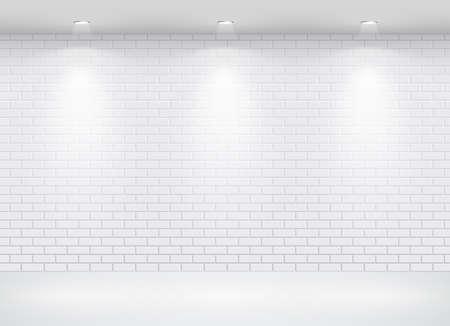 an exposition: Galleria interni con cornice vuota sul muro di mattoni. Illustrazione vettoriale