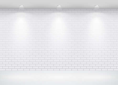 brick: Gallery Interior with empty frame on brick wall. Vector Illustration
