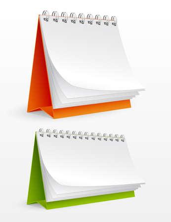 schedules: Calendarios de escritorio en blanco aislados en blanco. Ilustraci�n vectorial