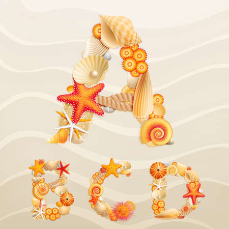 Vector sea life font on sand background. Check my portfolio for other letters, and numbers. Stock Vector - 10394421