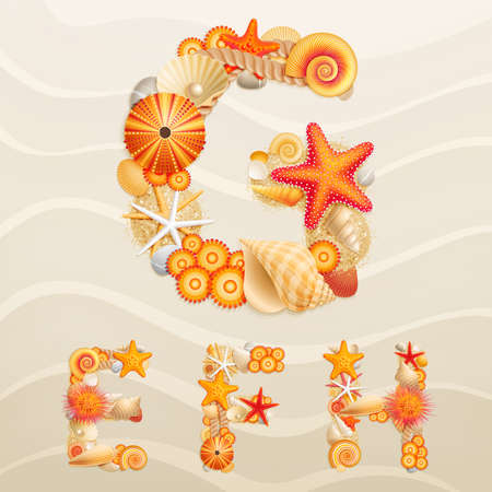Vector sea life font on sand background. Check my portfolio for other letters, and numbers. Vector