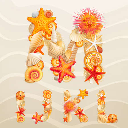 pearl shell: Vector sea life font on sand background. Check my portfolio for other letters, and numbers.
