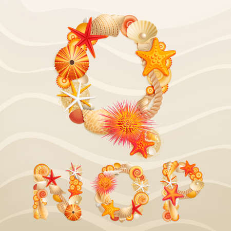 pearl shell: Vector sea life font on sand background. Check my portfolio for other letters, and numbers Illustration
