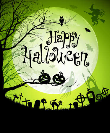 Halloween illustration with black silhouettes on moon background. Vector