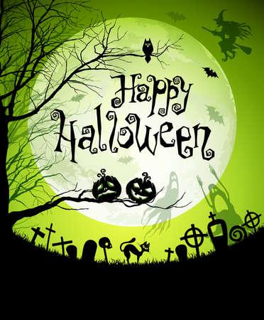 Ilustración de Halloween con siluetas negras sobre fondo de Luna.