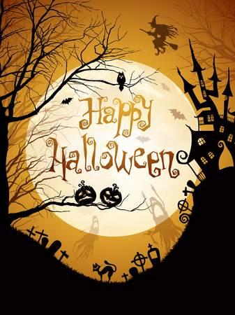zucche halloween: Illustrazione Halloween con sagome nere su sfondo luna.