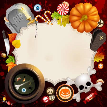 Tarjeta de Halloween con diferentes objetos y lugar para el texto.