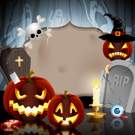 Halloween card on forest background with different objects and place for text. Vector