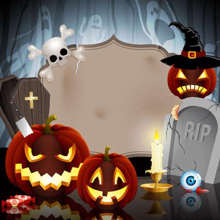 calabazas de halloween: Tarjeta de Halloween en el fondo del bosque con diferentes objetos y el lugar de texto.