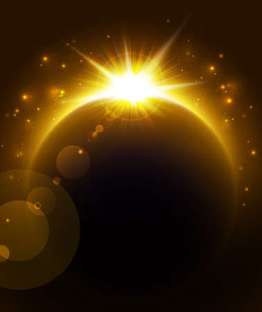 sol naciente: Sol sobre el planeta. Vectores