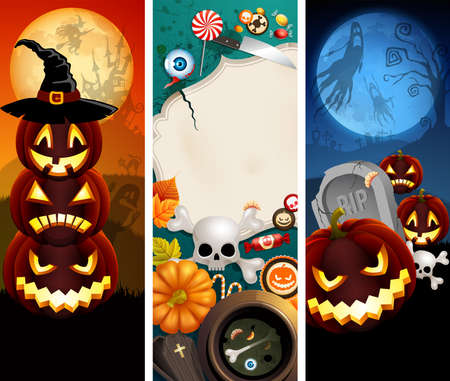 Halloween banners with pumpkins, different objects and place for text. Stock Vector - 10944491