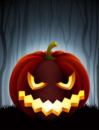 Halloween illustration with pumpkin on dark forest background. Vector