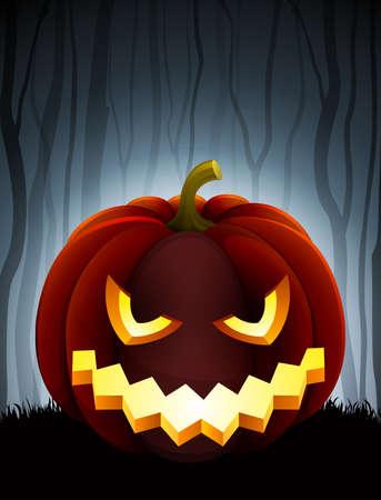 scary pumpkin: Halloween illustration with pumpkin on dark forest background.
