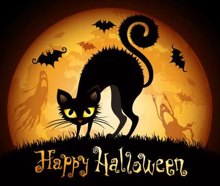 Illustrazione Halloween con gatto nero su sfondo luna.