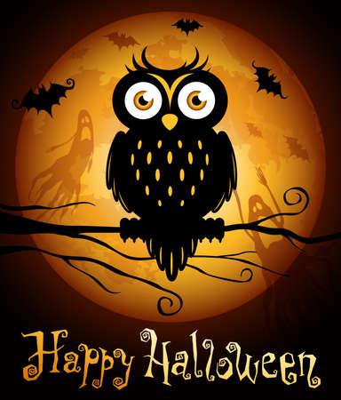 moon  owl  silhouette: Halloween illustration owl silhouette on moon background.