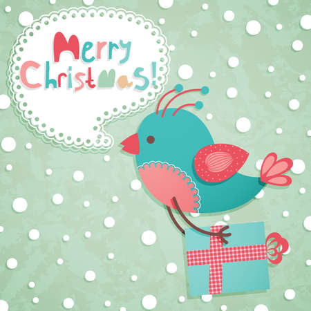 Funny Christmas postcard. Vector illustration. Vector