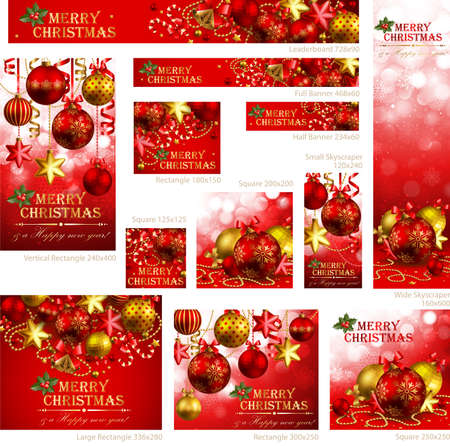 Collection of Christmas banners with baubles and place for text. Vector illustration. Vector