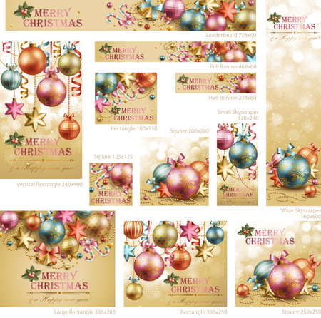 Collection of Christmas vintage banners with baubles and place for text. Vector illustration. Vector