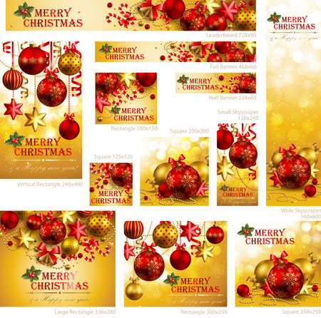 Collection of Christmas banners with baubles and place for text. Vector illustrations Vector
