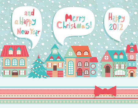 Funny Christmas postcard. Vector illustration. Vector