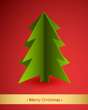 Christmas card with paper fir tree. Vector illustration. Vector