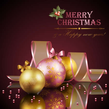 holy place: Christmas background with balls. Vector illustration.