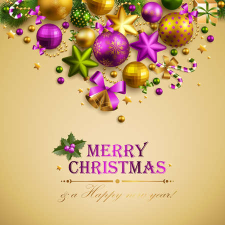 Beautiful christmas background with place for text. Vector illustration. Vector