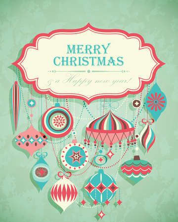 Funny Christmas postcard with place for text. Vector illustration. Vector