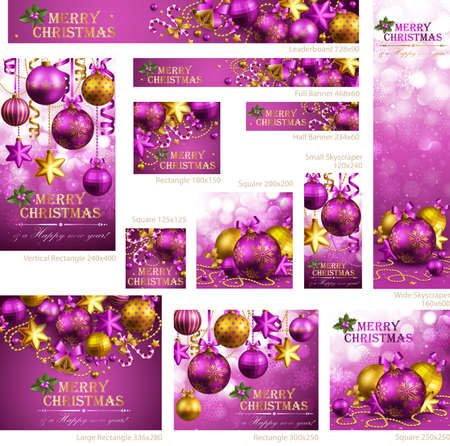 Collection of Christmas banners with baubles and place for text. Vector illustration. Stock Vector - 11656279