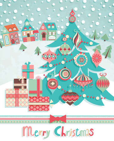 Funny Christmas postcard with fir tree. Vector illustration. Vector