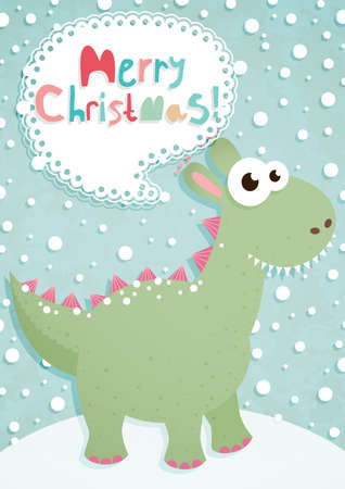 Funny Christmas postcard with dragon. Vector illustration. Vector