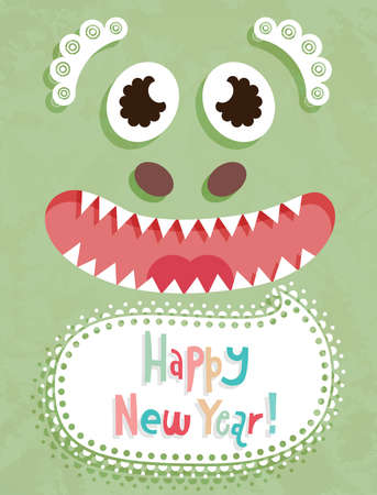 Funny Christmas postcard with dragon. Vector illustration. Stock Vector - 11656277