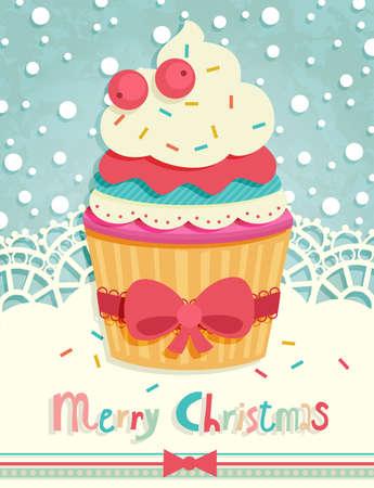 tarta: Zabawna pocztówka Christmas. Ilustracji wektorowych.