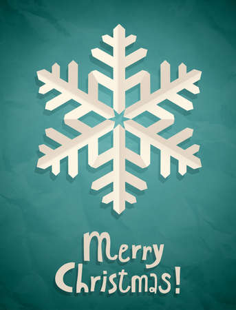 Christmas postcard with snowflake. Vector illustration. Vector