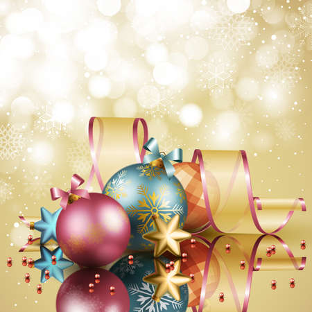 Christmas background with balls. Vector illustration. Stock Vector - 11656273