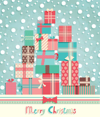 Funny Christmas postcard with pile of gifts. Vector illustration. Vector