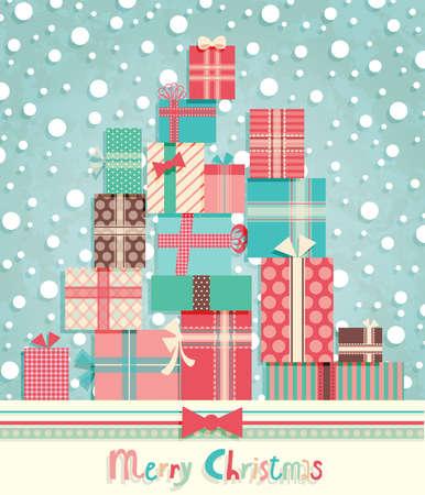 christmas postcard: Funny Christmas postcard with pile of gifts. Vector illustration. Illustration
