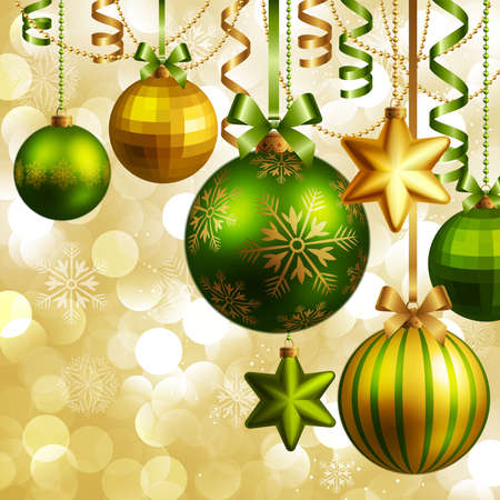 Christmas background with green and golden baubles. Vector illustration. Vector