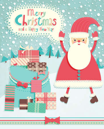 Funny Christmas postcard with Santa Claus. Vector illustration. Vector