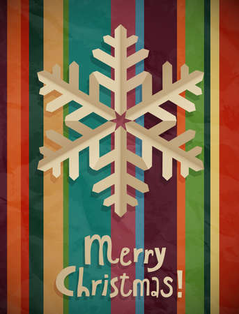 jammed: Christmas postcard with snowflake. Vector illustration.